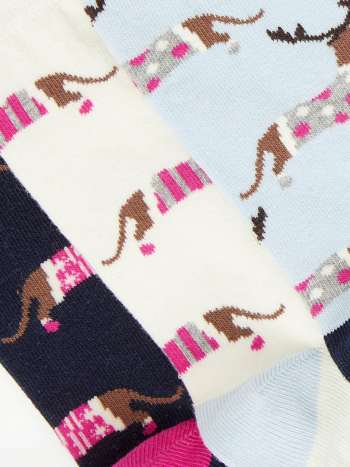 Buy John Lewis & Partners Christmas Dachshund Dog Socks, Pack of 3, Navy/Ivory/Blue, One Size Online at johnlewis.com