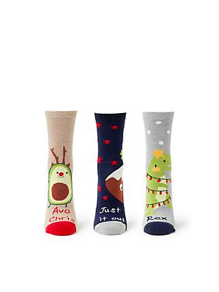 john lewis partners christmas novelty pun socks pack of 3 navynatural