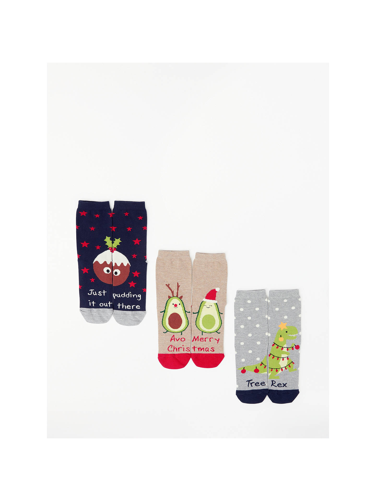 BuyJohn Lewis & Partners Christmas Novelty Pun Socks, Pack of 3, Navy/Natural/Grey, One Size Online at johnlewis.com