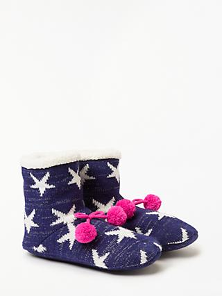 John Lewis & Partners Lurex Star Ankle Slipper Socks, Navy/Multi