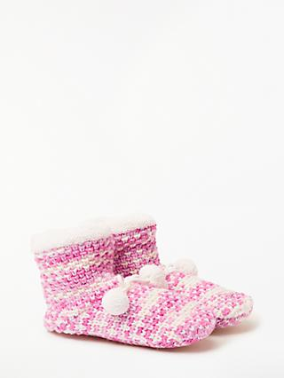 John Lewis & Partners Two Tone Textured Ankle Slipper Socks, Pink/Multi