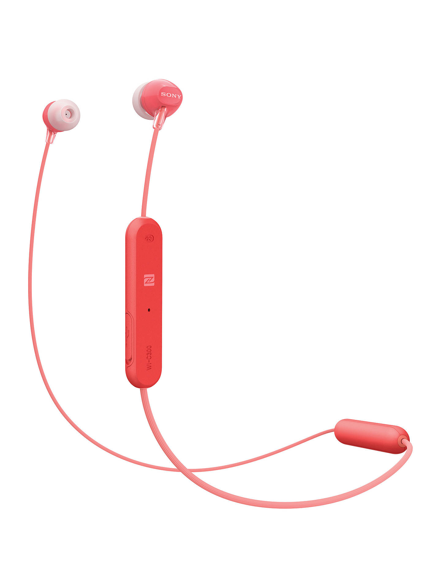 BuySony WI-C300 Bluetooth NFC Wireless In-Ear Headphones with Mic/Remote, Red Online at johnlewis.com