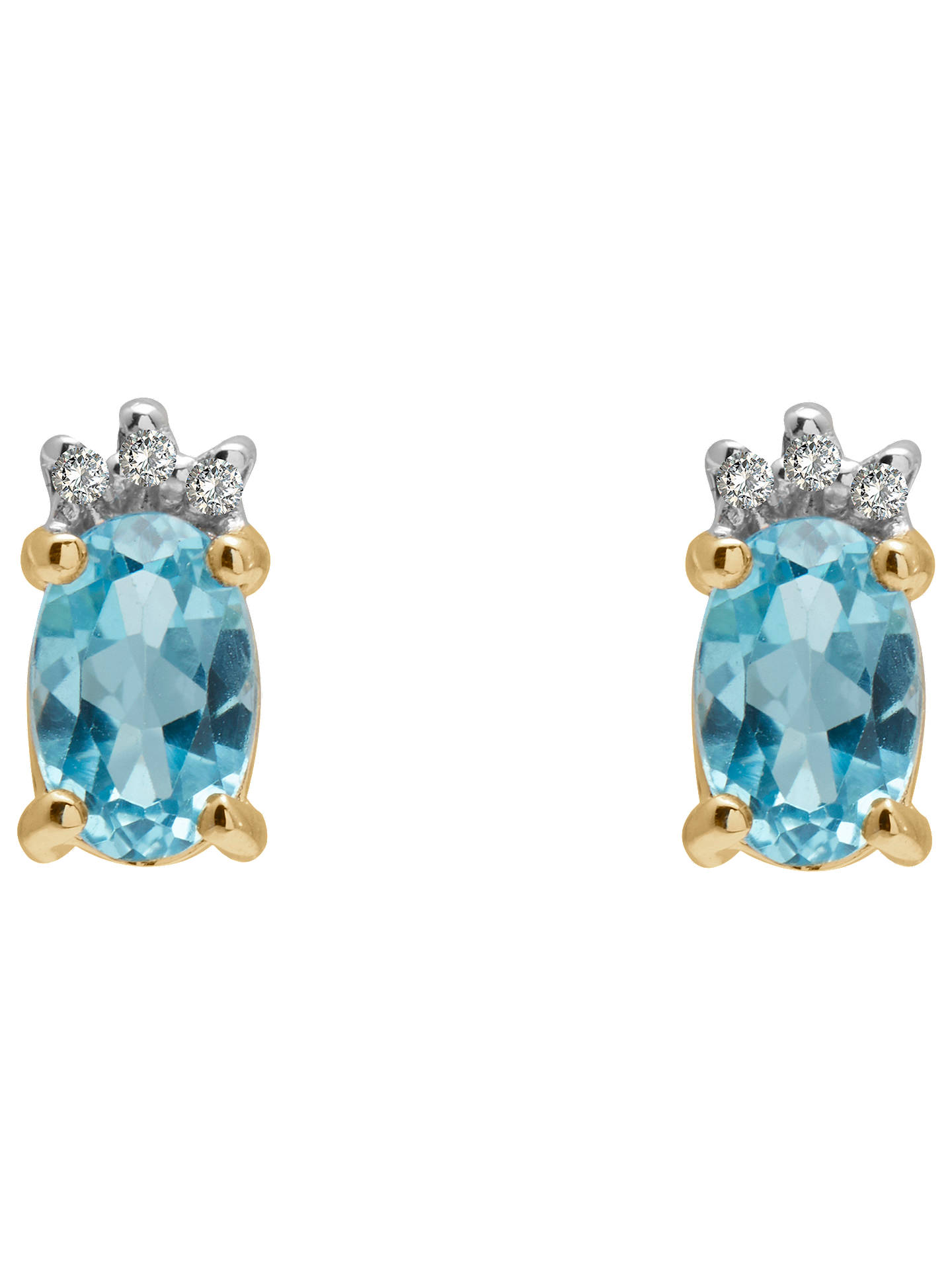 A B Davis 9ct Gold Diamond And Semi Precious Stone Oval Stud Earrings Blue Topaz