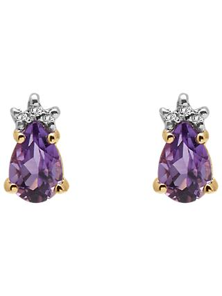 A B Davis 9ct Gold Diamond and Pear Semi-Precious Stone Stud Earrings, Amethyst