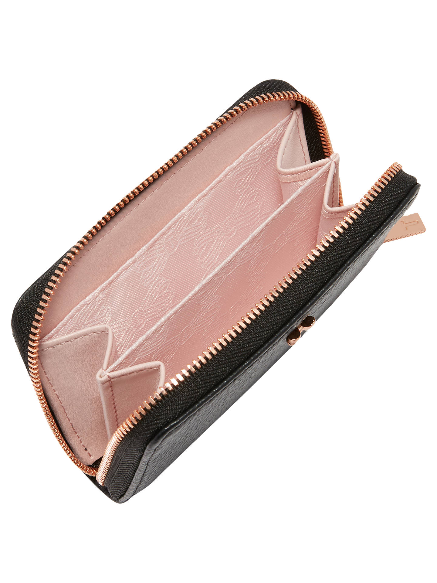 Buy Ted Baker Plie Mini Bow Zip Around Leather Purse, Black Online at johnlewis.com