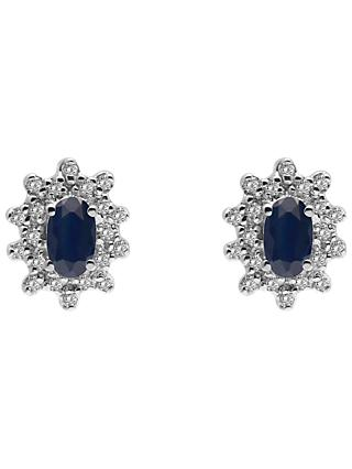 A B Davis 9ct Gold Oval Precious Stone and Cluster Diamond Stud Earrings