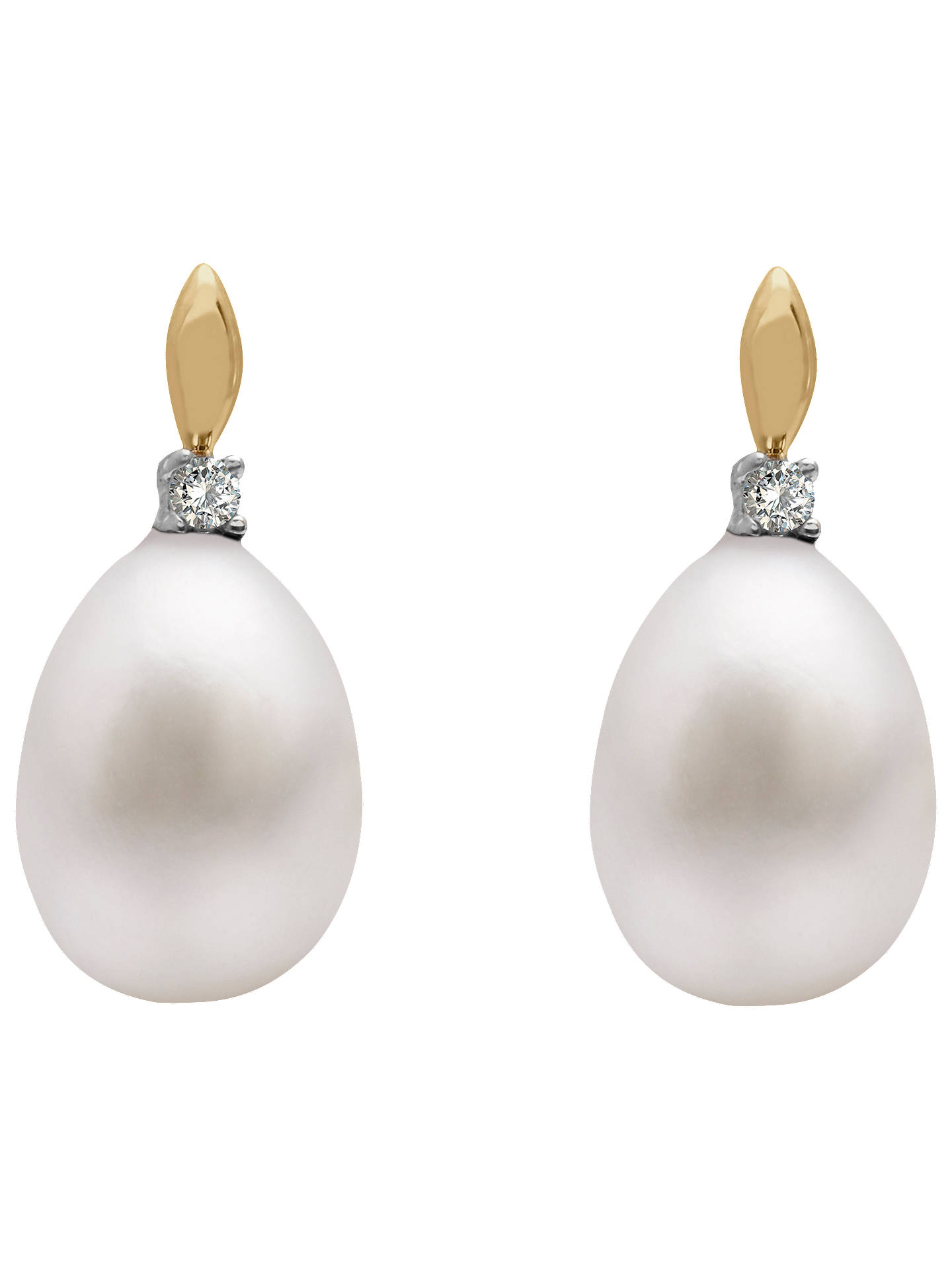 BuyA B Davis 9ct Gold Freshwater Pearl Solitaire Diamond Drop Earrings, White Online at johnlewis.com