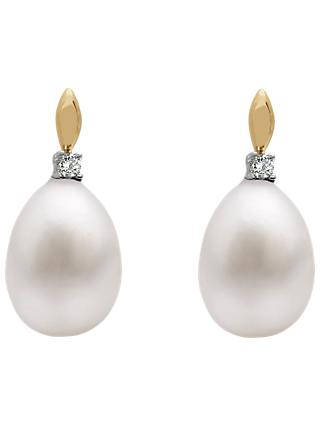 A B Davis 9ct Gold Freshwater Pearl Solitaire Diamond Drop Earrings
