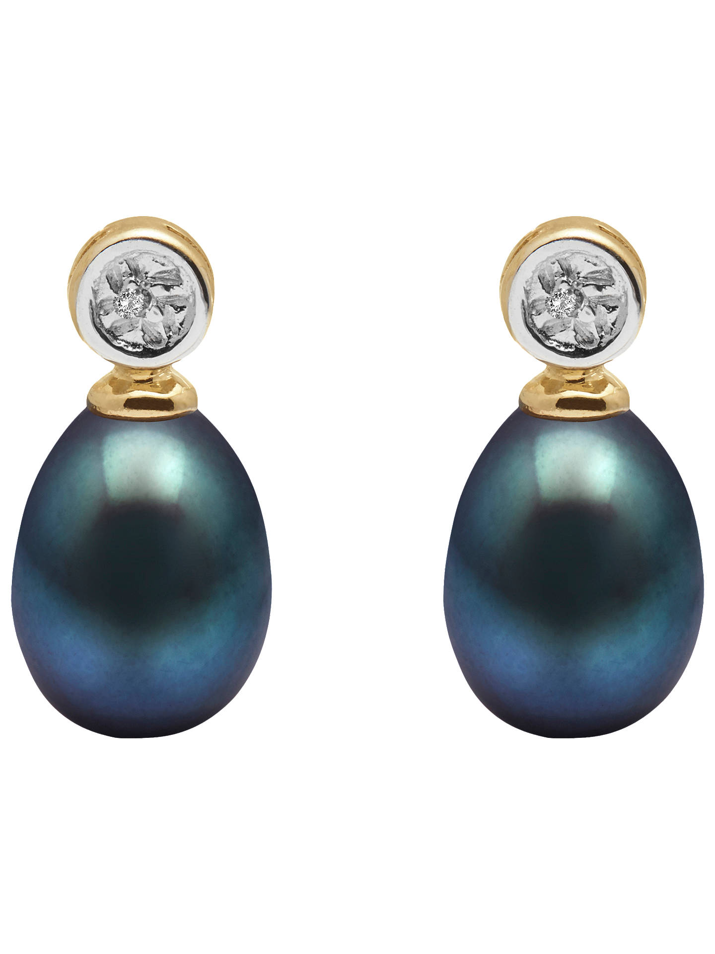 BuyA B Davis 9ct Gold Freshwater Pearl Rub-Over Diamond Drop Earrings, Black Online at johnlewis.com