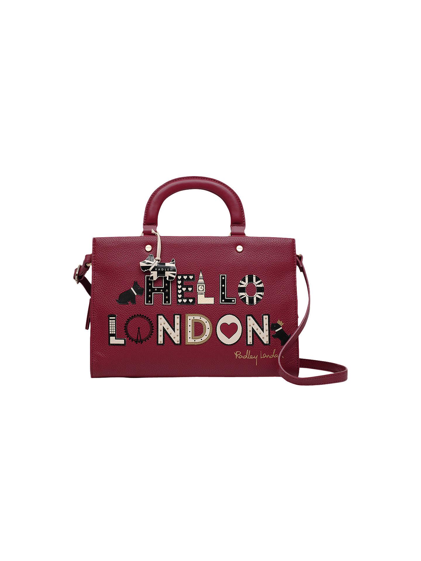 Radley Royal Wedding London S Calling Medium Leather Grab Bag Claret Red Online At Johnlewis