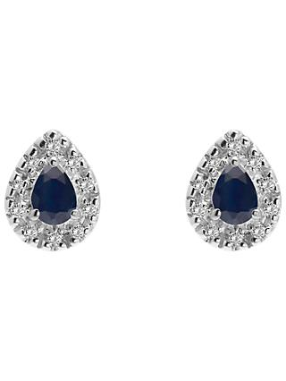 A B Davis 9ct Gold Diamond and Precious Stone Teardrop Stud Earrings