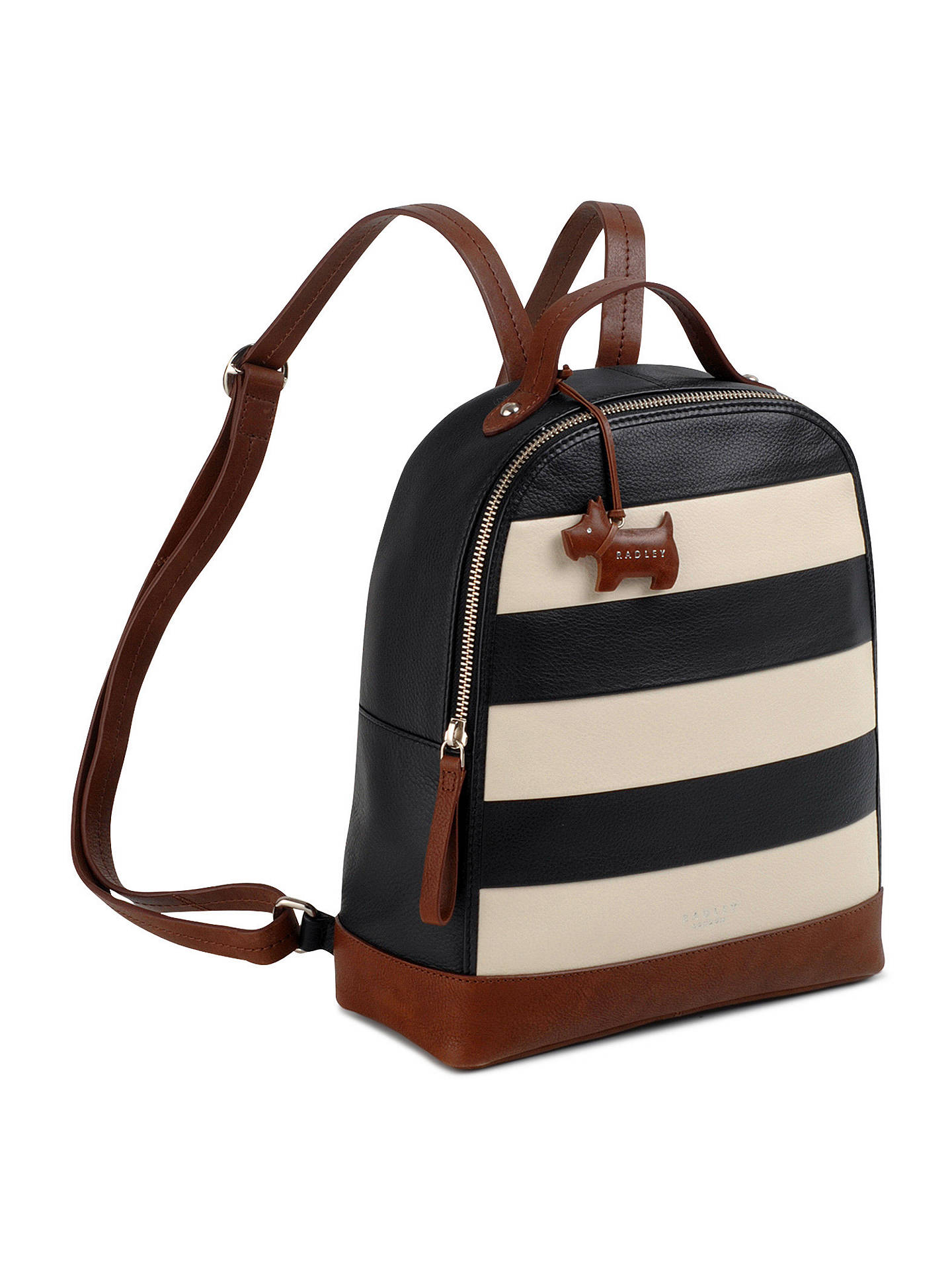 BuyRadley Stripe Leather Backpack, Black/Cream Online at johnlewis.com