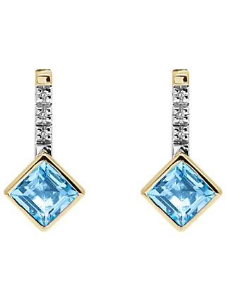 A B Davis 9ct Gold Channel Set Diamonds and Princess Semi-Precious Stone Drop Earrings, Blue Topaz
