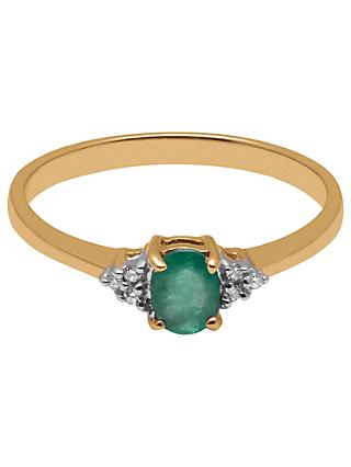 A B Davis 9ct Gold Oval Emerald and Diamond Engagement Ring