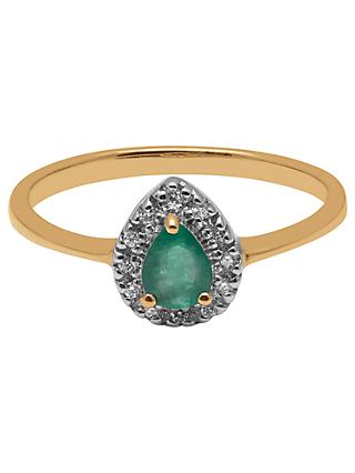 A B Davis 9ct Yellow Gold Pear Emerald and Diamond Engagement Ring
