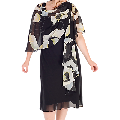 Chesca Abstract Floral Chiffon Shawl, Black/Apple