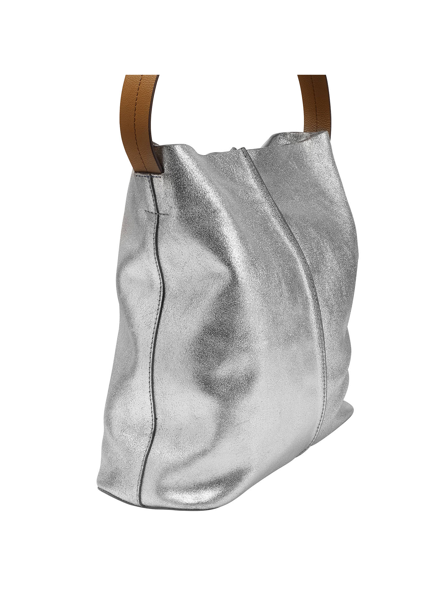 White Stuff Nelly Leather Slouch Hobo Bag Silver Online At Johnlewis