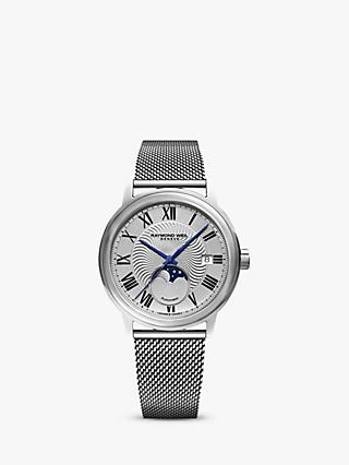 Raymond Weil 2239M-ST-00659 Men's Maestro Automatic Moonphase Date Mesh Bracelet Strap Watch, Silver