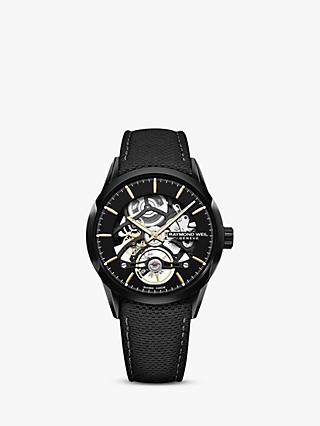 Raymond Weil 2785-BC5-20001 Men's Freelancer Automatic Skeleton Carbon Fibre Leather Strap Watch, Black