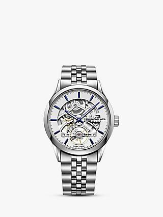 277f4cbb4 Raymond Weil 2785-ST-65001 Men's Freelancer Automatic Skeleton Bracelet  Strap Watch, Silver