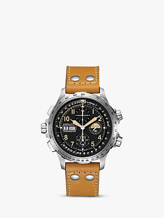 Hamilton H77796535 Men's Khaki X-Wind Limited Edition Automatic Chronograph Date Leather Strap Watch, Tan/Black