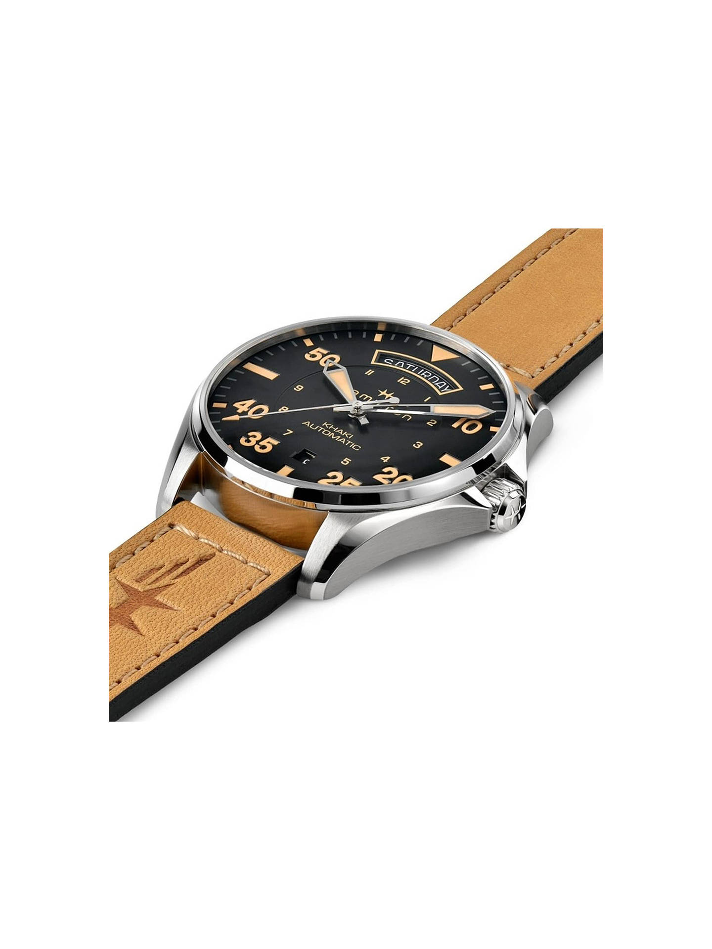d685b99a0 ... Buy Hamilton H64645531 Men's Khaki Pilot Day Date Automatic Leather  Strap Watch, Tan/Black ...