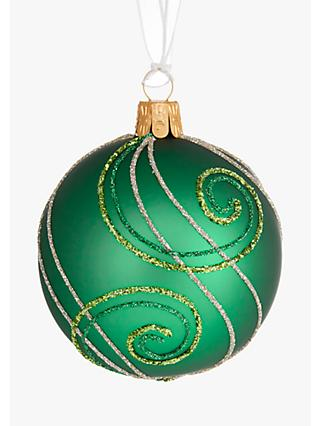 john lewis partners emerald glitter swirl bauble green
