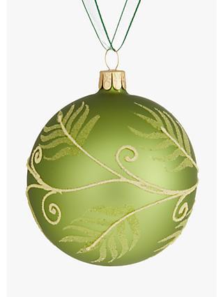john lewis partners emerald olive glittered leaf bauble green