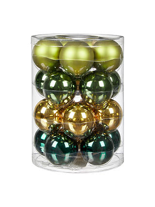 Buy John Lewis & Partners Emerald Glass Baubles, Tub of 20, Green/Multi Online at johnlewis.com