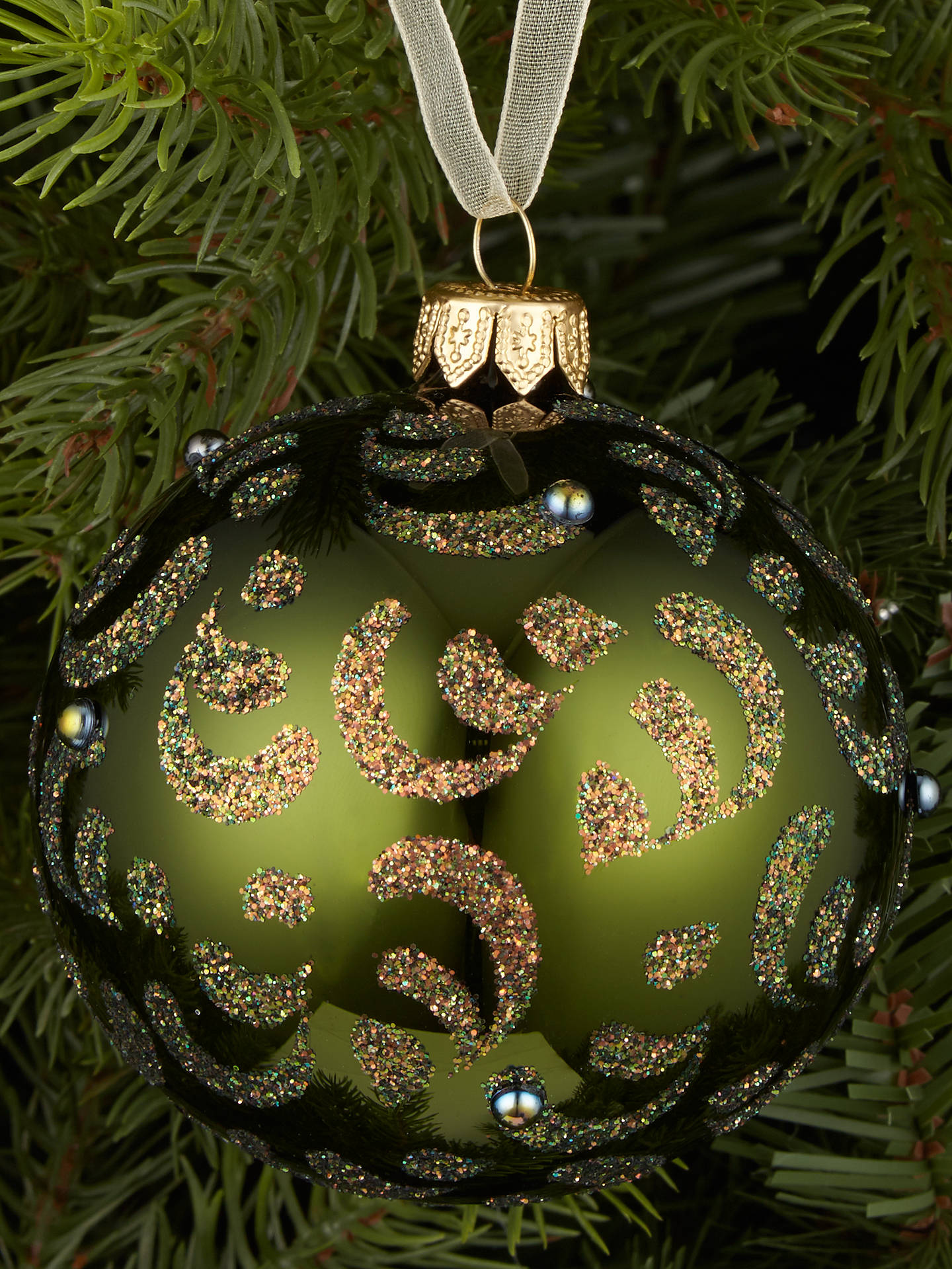 BuyJohn Lewis & Partners Emerald Copper Glitter Swirl Bauble, Green Online at johnlewis.com
