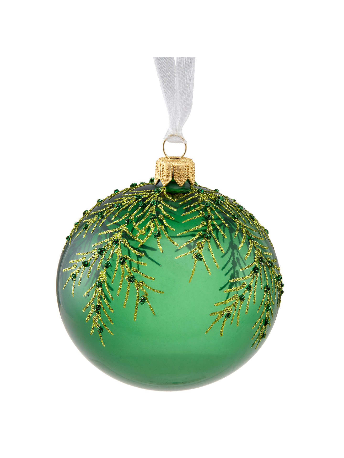 Buy John Lewis & Partners Emerald Transparent Fern Bauble, Green Online at johnlewis.com