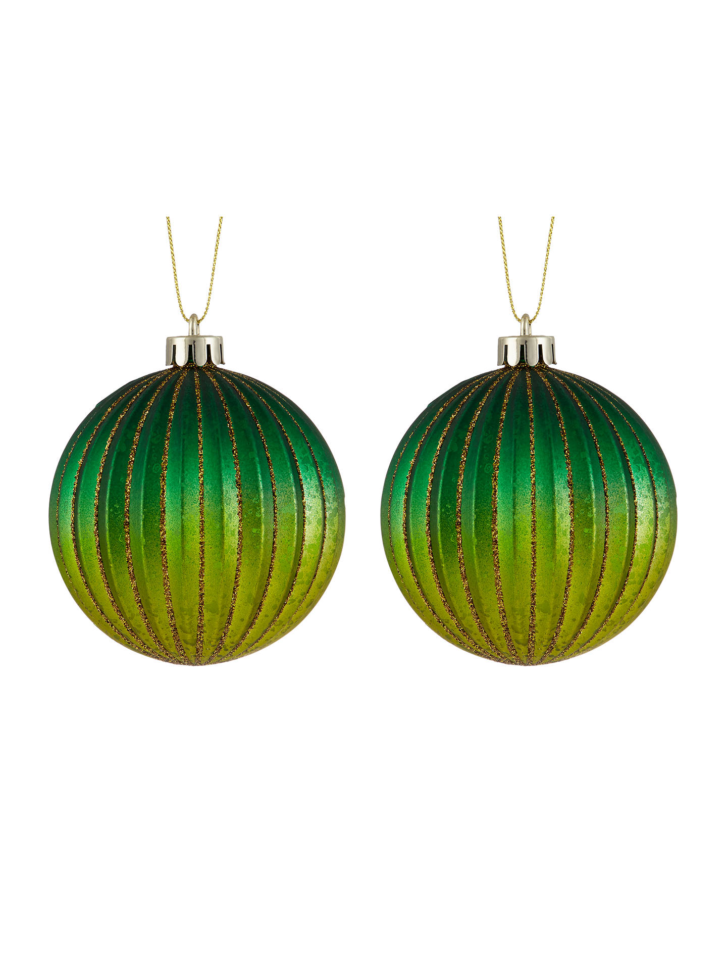 BuyJohn Lewis & Partners Emerald Shatterproof Baubles, Box of 4, Green Online at johnlewis.com