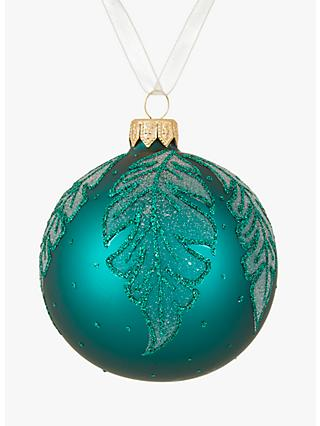 john lewis partners emerald forest leaf bauble green - Narwhal Christmas Decoration
