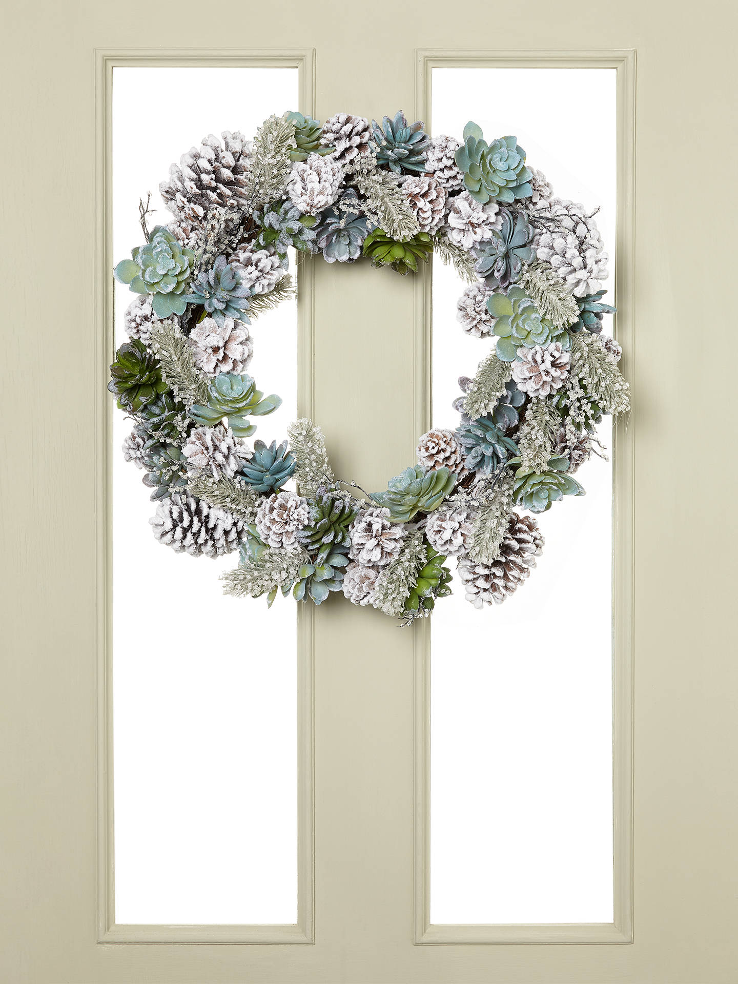 BuyJohn Lewis & Partners Emerald Frosted Succulent Wreath Online at johnlewis.com