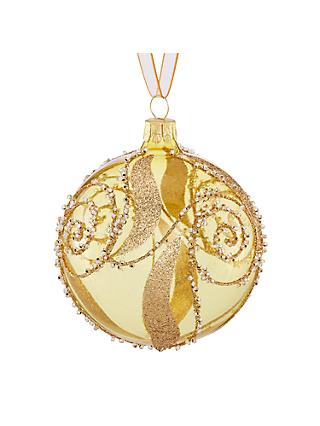 john lewis partners gold crystal swirl bauble