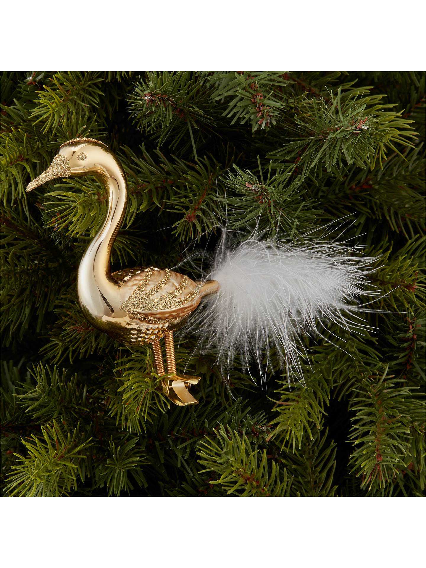 BuyJohn Lewis & Partners Gold Mirror Swan Clip On Tree Decoration, Gold Online at johnlewis.com