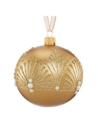 john lewis partners gold glitter fan bauble
