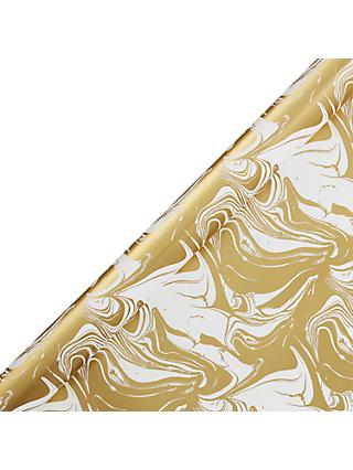 John Lewis & Partners Gold Limestone Marbled Gift Wrap, 3m