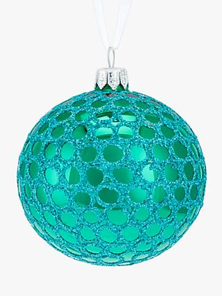 john lewis partners sapphire glittered mesh bauble blue - Duck Egg Blue Christmas Decorations