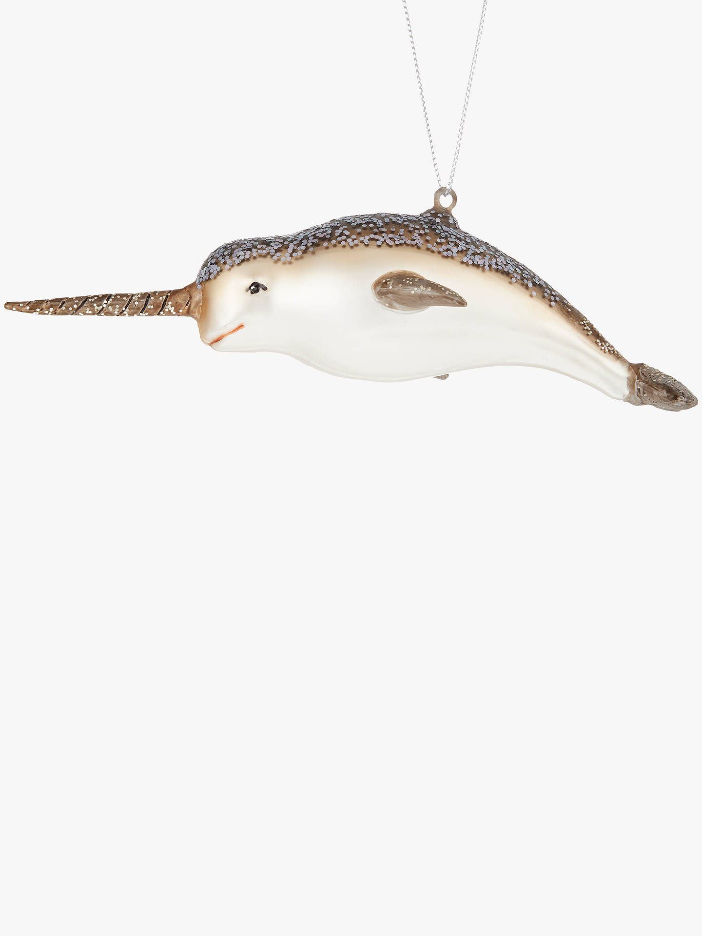 buyjohn lewis partners sapphire glittered narwhal tree decoration multi online at johnlewis