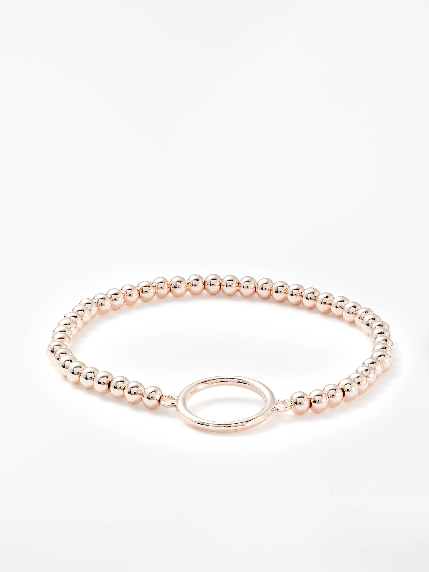 BuyJohn Lewis & Partners Circle Beaded Stretch Bracelet, Rose Gold Online at johnlewis.com
