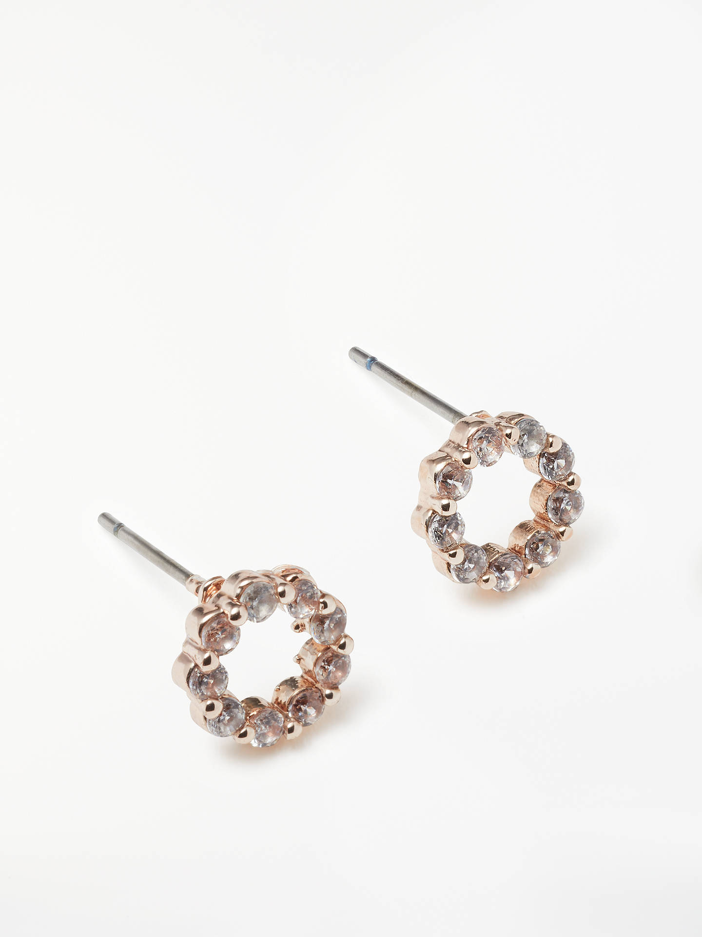 449d50ca1 Buy John Lewis & Partners Open Circle Cubic Zirconia Stud Earrings, Rose  Gold Online at ...