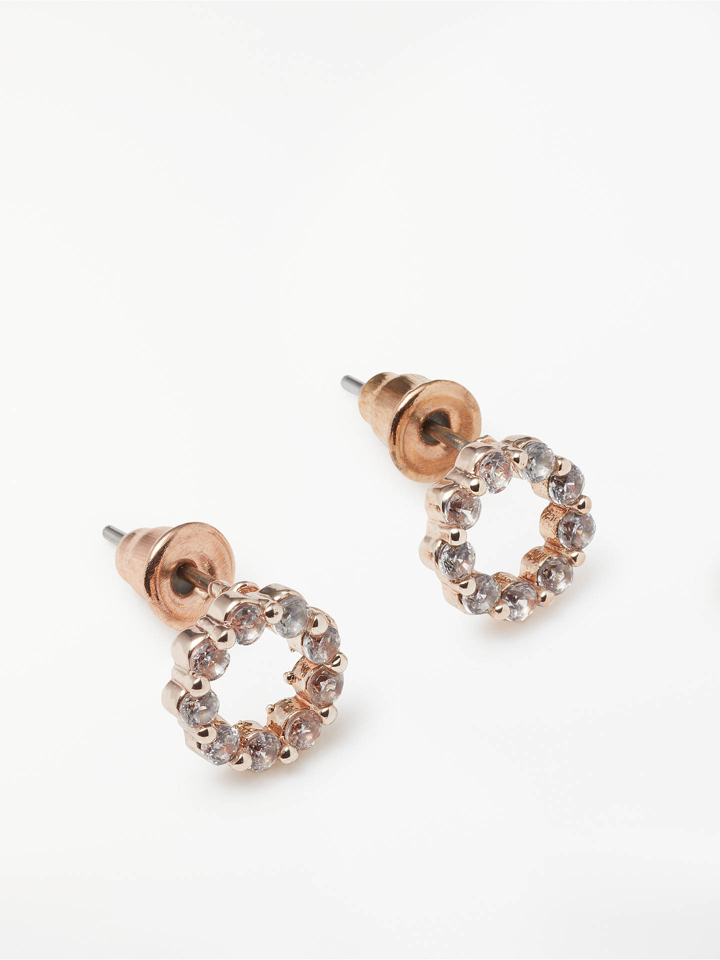 e86eede8cfcd ... Buy John Lewis & Partners Open Circle Cubic Zirconia Stud Earrings,  Rose Gold Online at