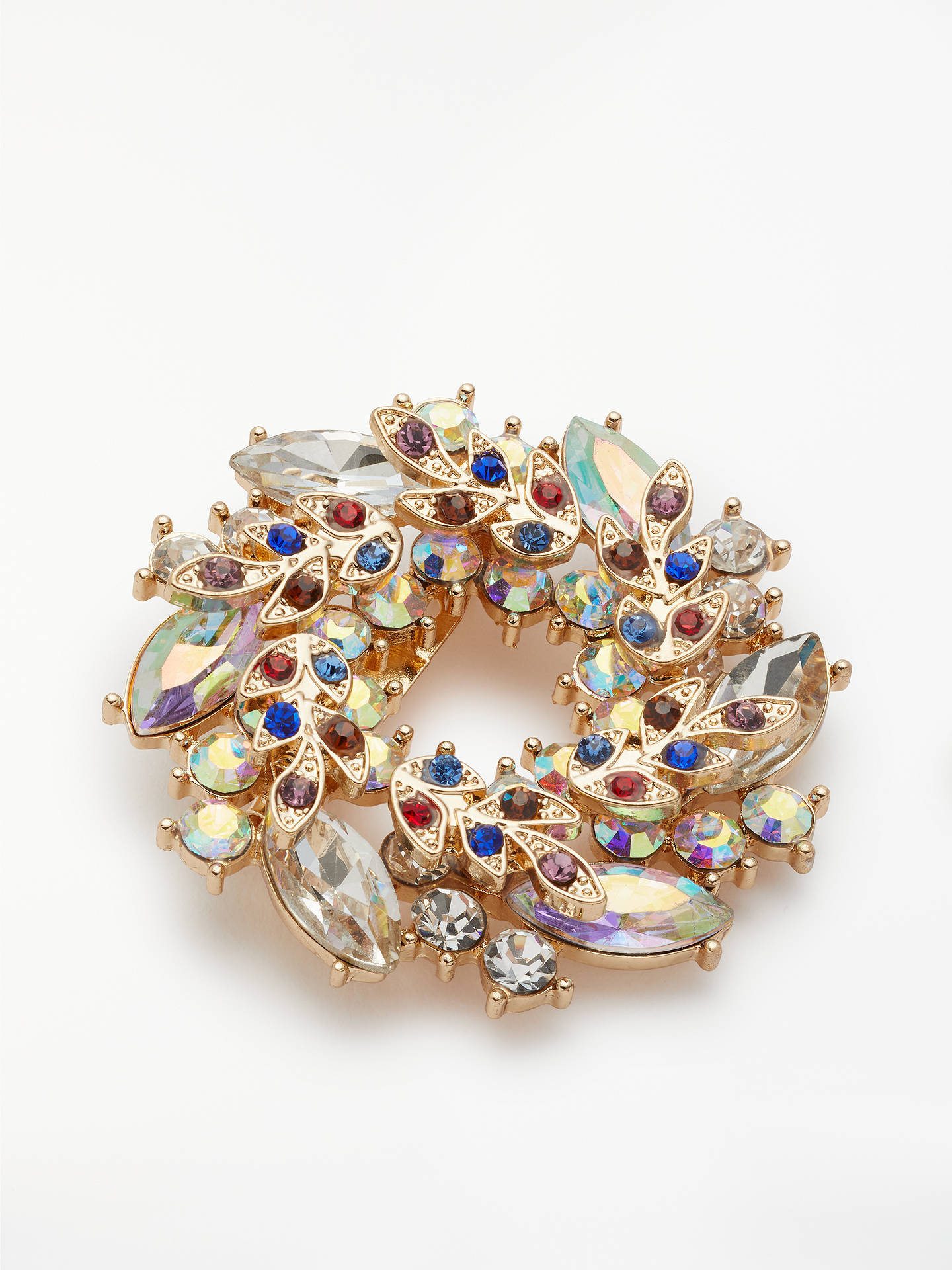 Buy John Lewis & Partners Christmas Wreath Crystal Brooch, Multi Online at johnlewis.com