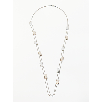 Image of John Lewis & Partners Long Rectangle Necklace, Silver/Rose Gold