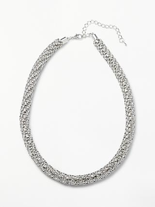 John Lewis & Partners Cubic Zirconia Sparkle Collar Necklace, Silver