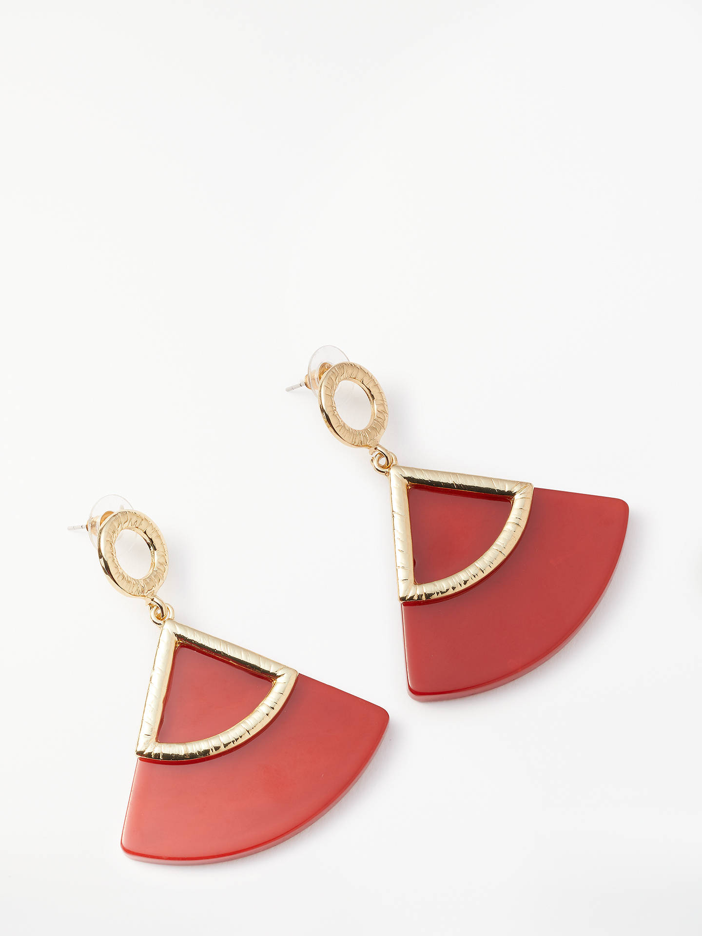 BuyJohn Lewis & Partners Fan Resin Drop Earrings, Red Online at johnlewis.com