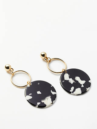 Buy John Lewis & Partners Circle Drop Earrings, Black/White Online at johnlewis.com
