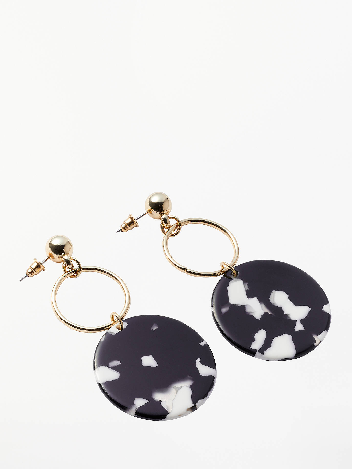 BuyJohn Lewis & Partners Circle Drop Earrings, Black/White Online at johnlewis.com