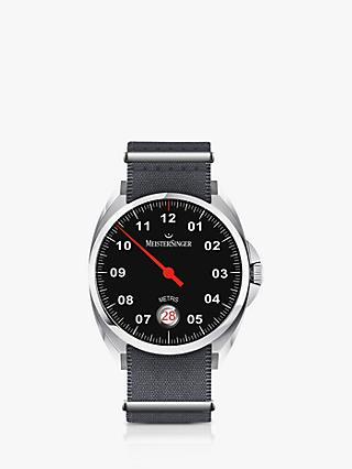 MeisterSinger ME902 Unisex Metris Automatic Date Fabric Strap Watch, Grey/Black